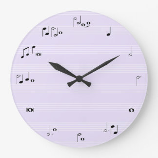 Music notes time clock - lilac purple