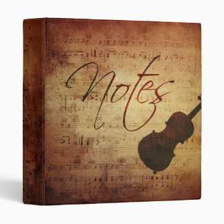 Music Notes Vintage Grunge Antique Look Binder
