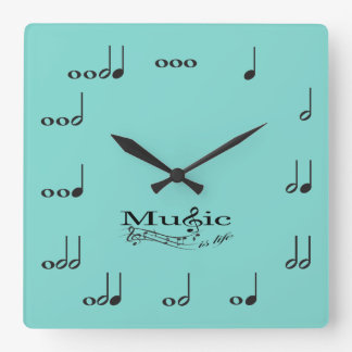 Music Notes with Music is Life saying Square Wallclocks