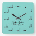 Music Notes with Music is Life saying Wall Clocks