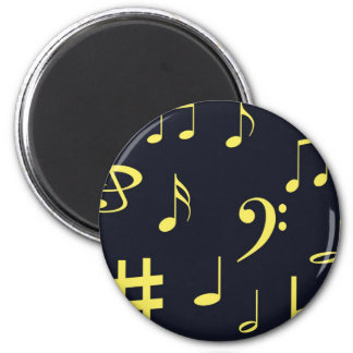 Music Notes - Yellow on Black Magnets