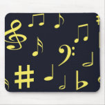 Music Notes - Yellow on Black Mouse Pad
