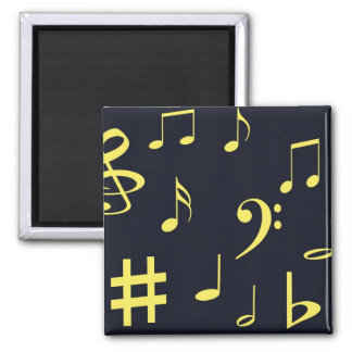 Music Notes - Yellow on Black Refrigerator Magnets