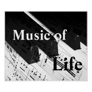 Music of Life: Piano Keys & Notes B&W Print