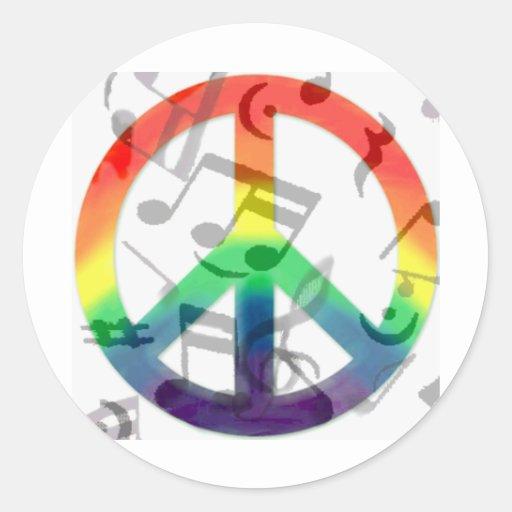Music of peace_ round sticker
