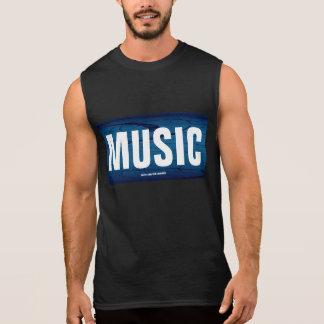 Music On Blue Sleeveless Shirt