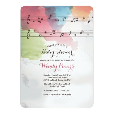 Toddler & Baby themed Music on Watercolor Paper Invitation