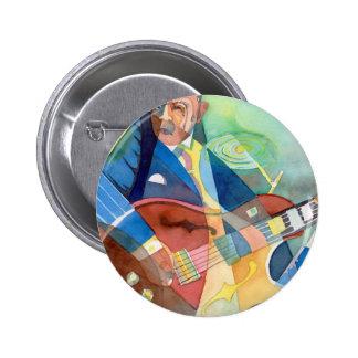"Music Painting ""Jazz Guitarist"" Pinback Button"