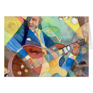 "Music Painting ""Jazz Guitarist"" Greeting Card"