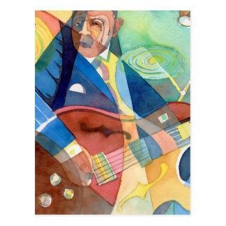 "Music Painting ""Jazz Guitarist"" Postcard"