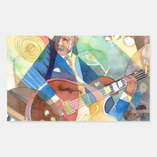 """Music Painting """"Jazz Guitarist"""" Rectangular Sticker"""