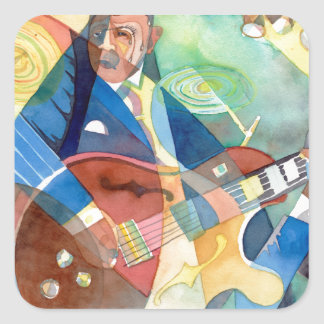 "Music Painting ""Jazz Guitarist"" Square Sticker"