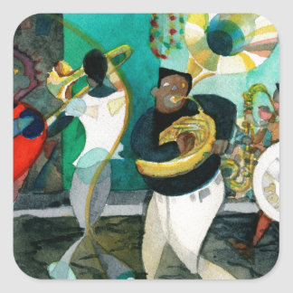 """Music Painting """"New Orleans Jazz"""" Square Sticker"""