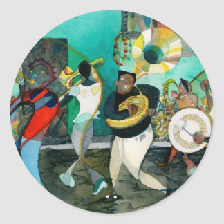"""Music Painting """"New Orleans Jazz"""" Round Stickers"""