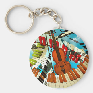 Music paintings Piano, electric guitar, jazz songs Key Chains