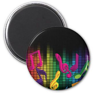 Music Party Background 2 Inch Round Magnet
