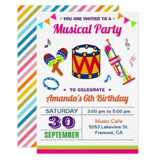 Music Party | Colorful Kids Birthday Invitation