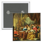 Music Party in a Palatial Interior with Pinback Button
