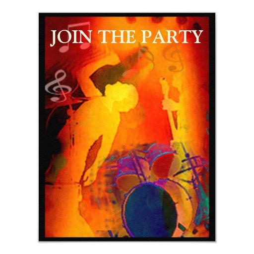 """Music Party Invitation 4.25"""" X 5.5"""" Invitation Card"""