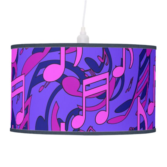 Music Pattern Blue Aqua Pink Purple Musical Notes Pendant Lamp