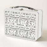 "Music Pattern custom name lunch boxes<br><div class=""desc"">See my store for more items with this image.</div>"