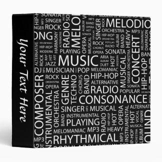 MUSIC pattern word cloud 3 Ring Binders