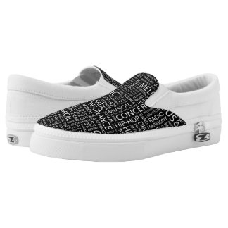 MUSIC pattern word cloud Printed Shoes