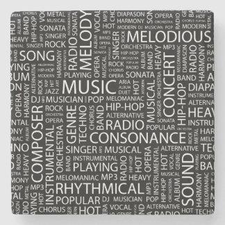 MUSIC pattern word cloud Stone Coaster
