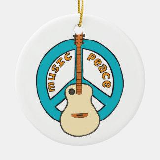 Music Peace Guitar Ceramic Ornament