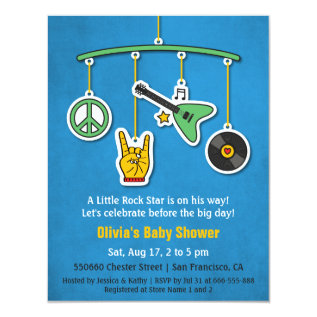 Music Peace Guitar Rock and Roll Baby Boy Shower Card at Zazzle