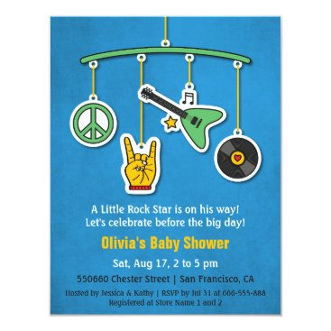 Toddler & Baby themed Music Peace Guitar Rock and Roll Baby Boy Shower Card