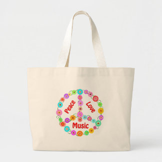 Music Peace Love Large Tote Bag