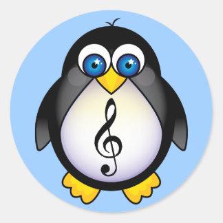 Music Penguin Treble Clef Classic Round Sticker