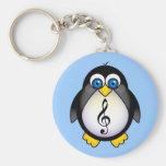 Music Penguin Treble Clef Basic Round Button Keychain