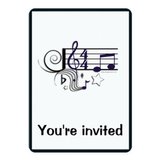 Music Performance or Recital: Black and White 5x7 Paper Invitation Card