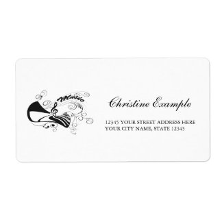 Music, piano and clef with floral elements shipping label