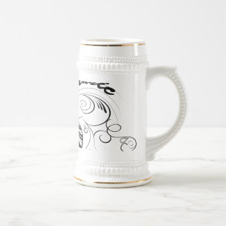 Music, piano and clef with floral elements 18 oz beer stein