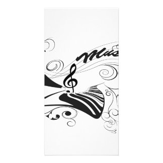 Music, piano and clef with floral elements photo card