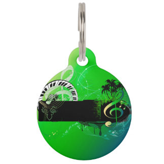Music, piano and clef with microphone pet tag