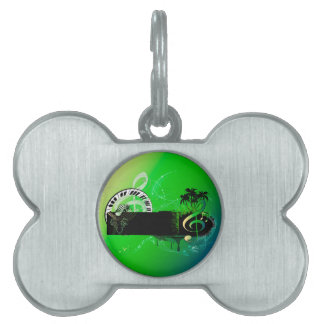 Music, piano and clef with microphone pet ID tags
