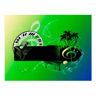 Music, piano and clef with microphone postcards