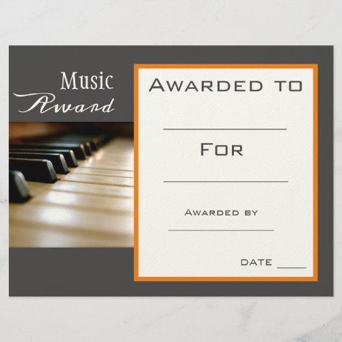 Music piano award certificate music teacher