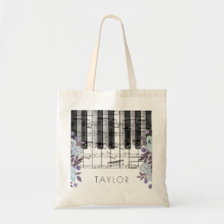 music piano blue floral name tote bag