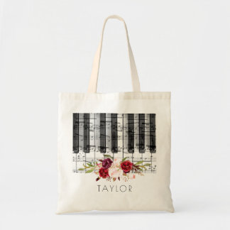 music piano burgundy floral name tote bag