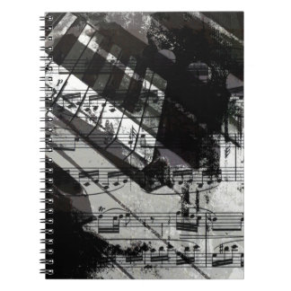 music, piano decor (10) spiral note books