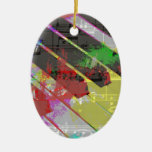 music, piano decor (1) Double-Sided oval ceramic christmas ornament