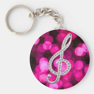 Music Piano Gclef Basic Round Button Keychain