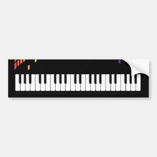 Music piano instrumental keyboard multicolored bumper sticker