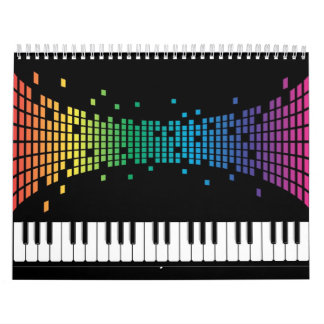 Music piano instrumental keyboard multicolored calendar