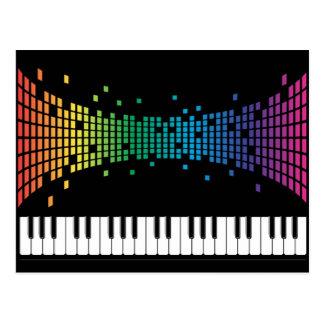 music piano instrumental keyboard multicolored postcard